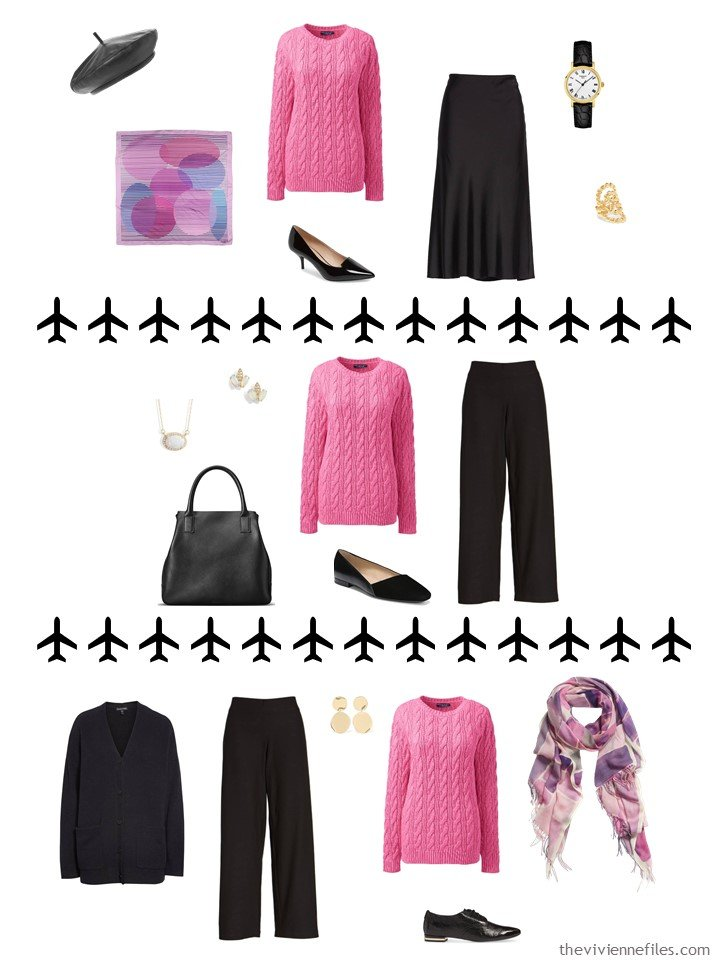 11. 3 ways to wear a pink sweater in a travel capsule wardrobe