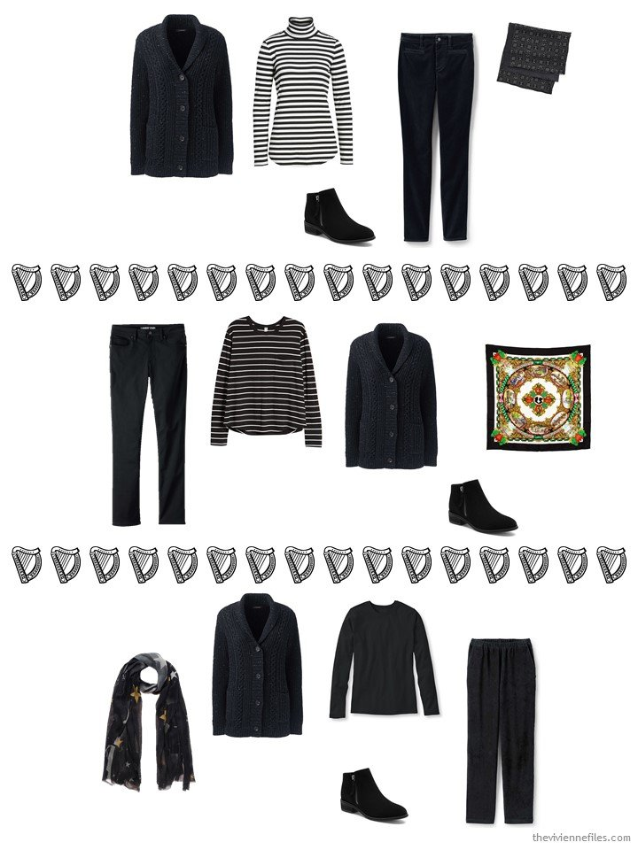 11. 3 ways to wear a tweed cardigan from a travel capsule wardrobe