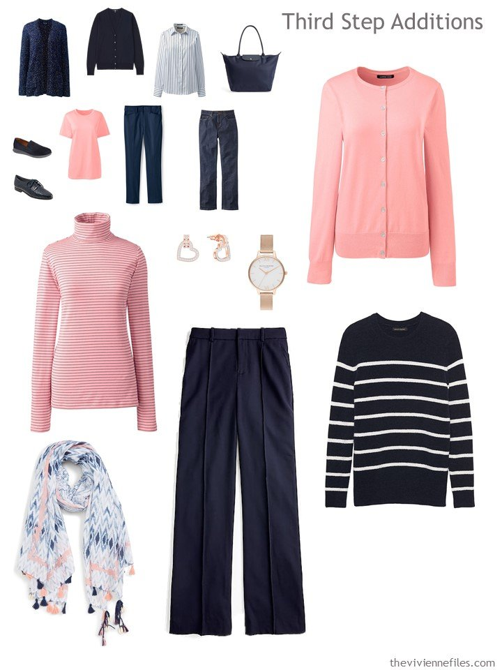 11. adding garments to a navy an coral travel capsule wardrobe
