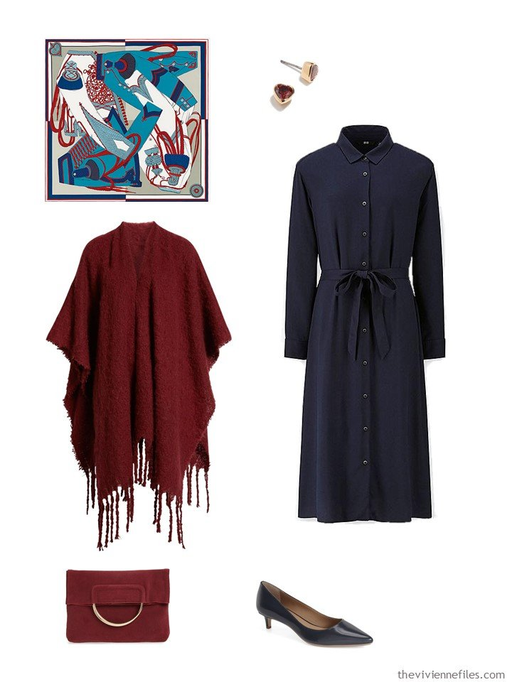 11. navy dress with burgundy accessories
