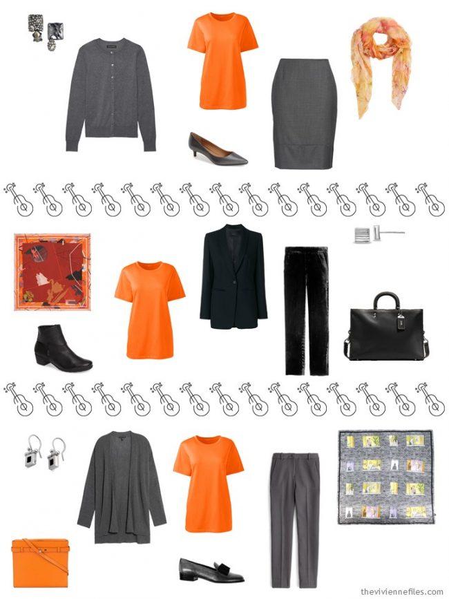12. 3 ways to wear an orange tee shirt in a capsule wardrobe