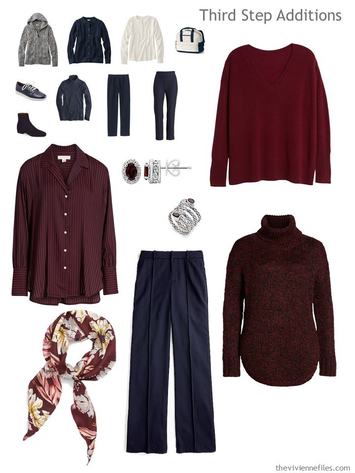 12. adding garments to a navy, beige and burgundy travel capsule wardrobe