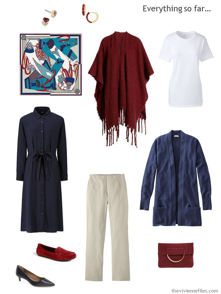 12. travel capsule wardrobe in beige, navy, burgundy and white