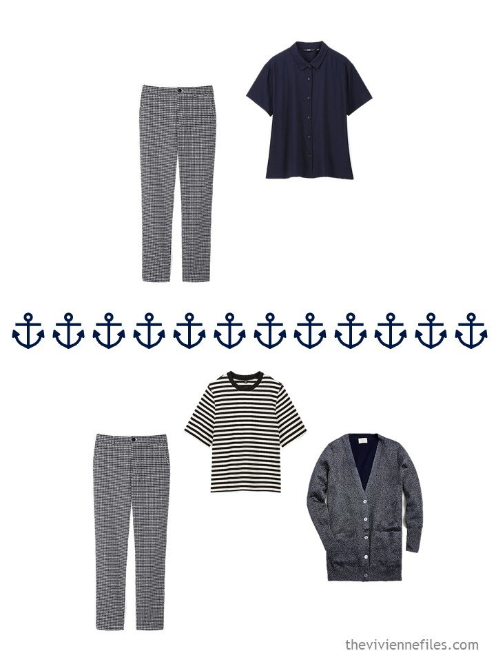 13. 2 ways to wear navy gingham pants from a travel capsule wardrobe