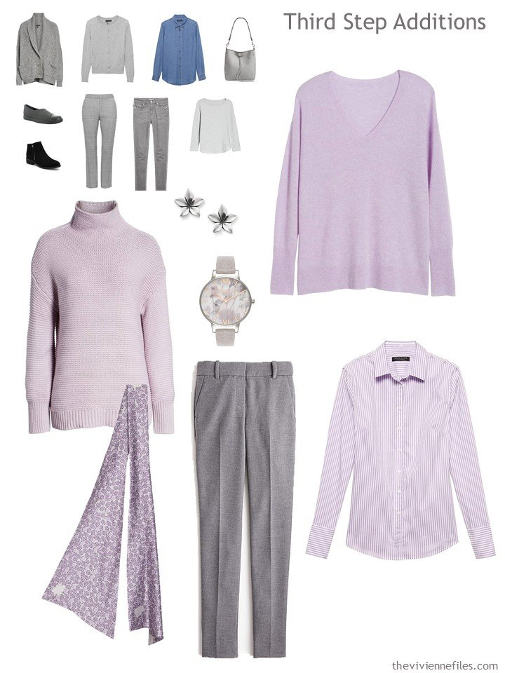 13. adding garments to a lavender, grey and denim travel capsule wardrobe