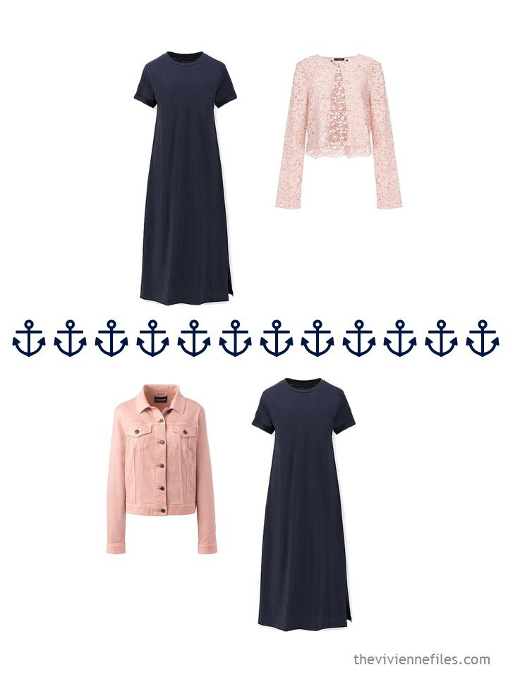 14. 2 ways to wear a navy dress from a travel capsule wardobe