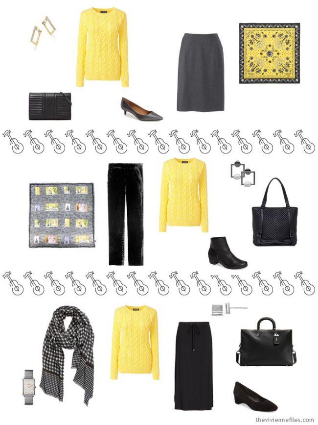 14. 3 ways to wear a yellow sweater in a capsule wardrobe
