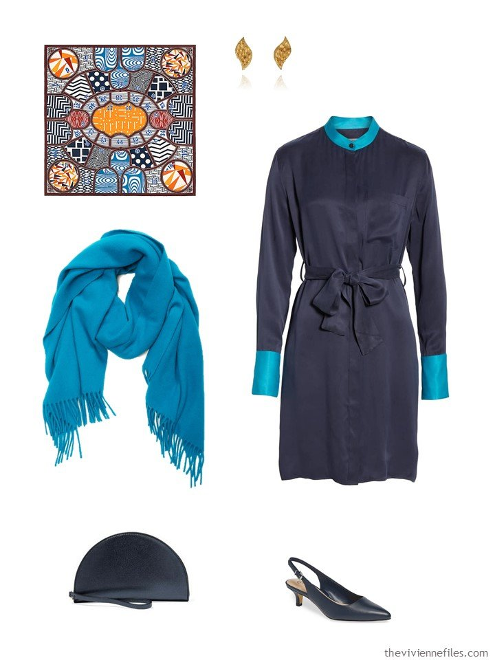 14. navy dress with turquoise accessories