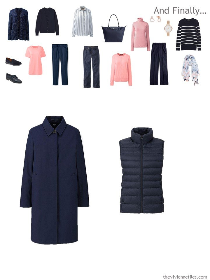 15. adding a coat and down vest to a travel capsule wardrobe