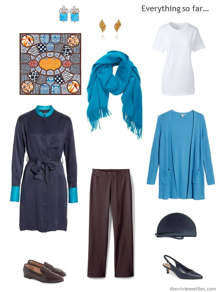 15. travel capsule wardrobe in navy, turquoise and white