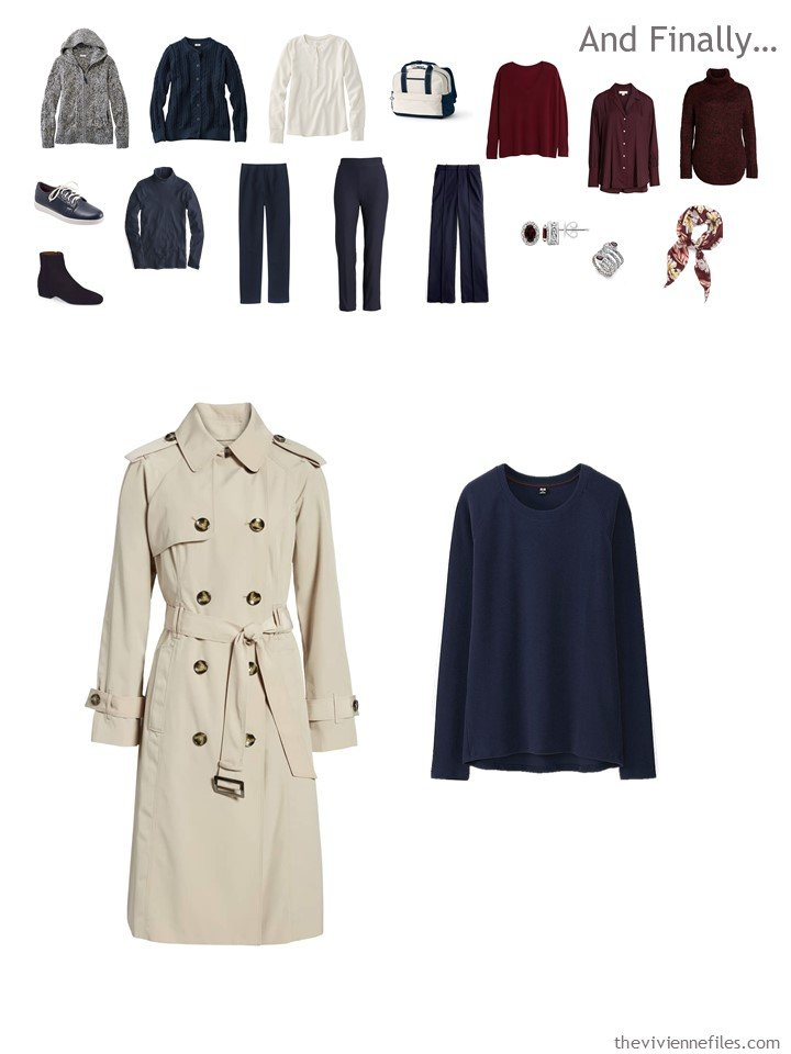 16. adding a trenchcoat and a fleece top to a travel capsule wardrobe