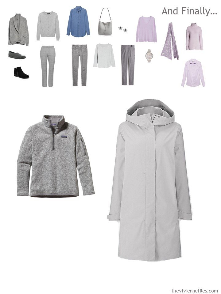 17. adding a fleece top and raincoat to a travel capsule wardrobe