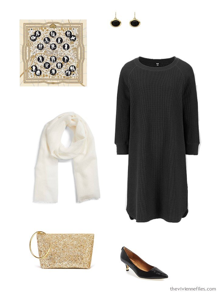 17. black dress with gold and white accessories
