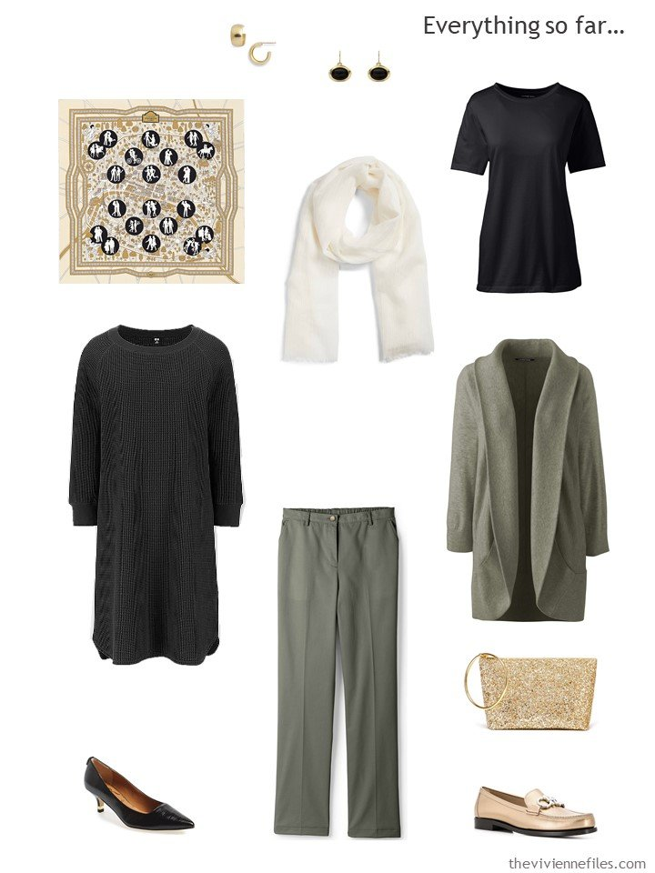18. travel capsule wardrobe in black, olive and cream