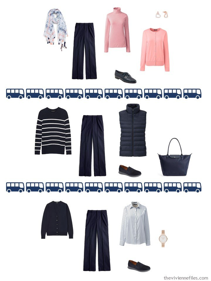 19. 3 ways to wear navy wool pants from a travel capsule wardrobe