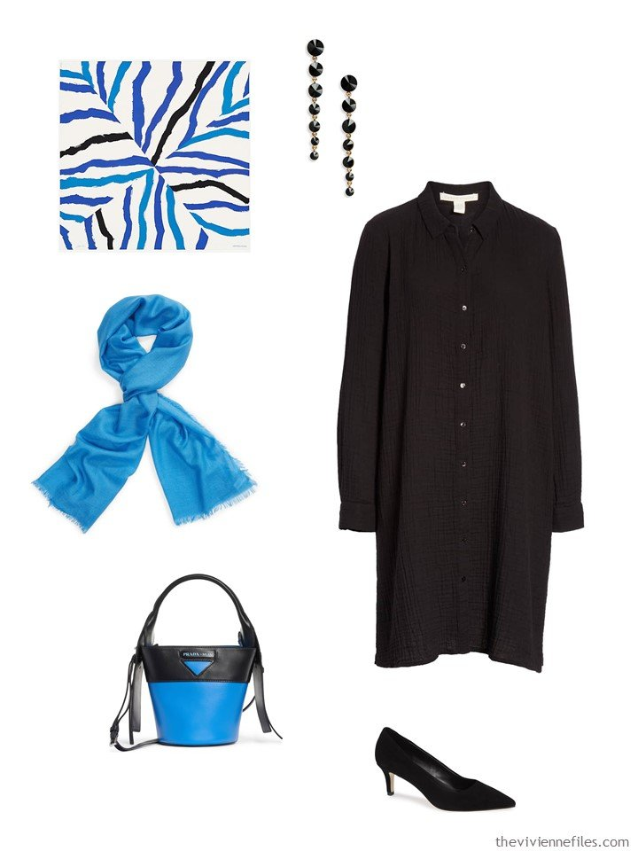 2. black dress with blue accessories