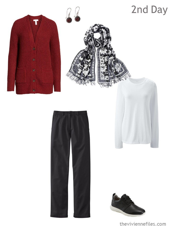 2. cool weather travel outfit in black, white and red