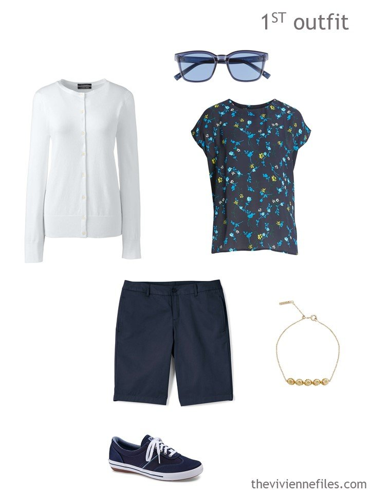 2. navy and white warm weather outfit