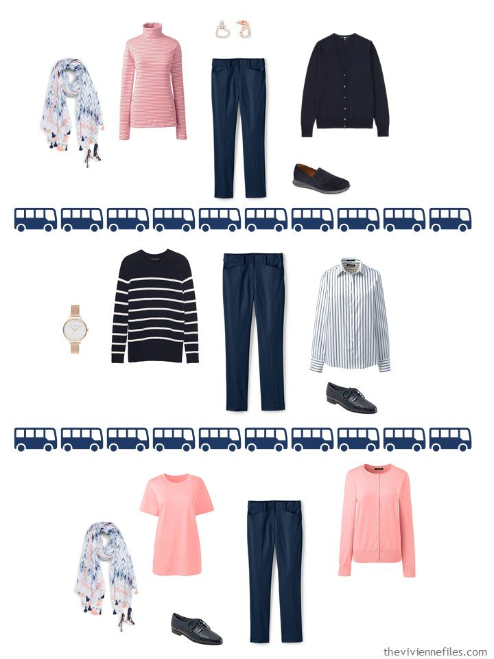 20. 3 ways to wear navy twill pants from a travel capsule wardrobe