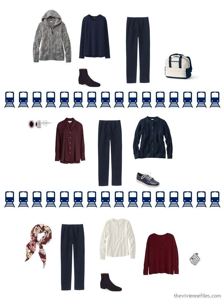 23. 3 ways to wear navy pants from a travel capsule wardrobe