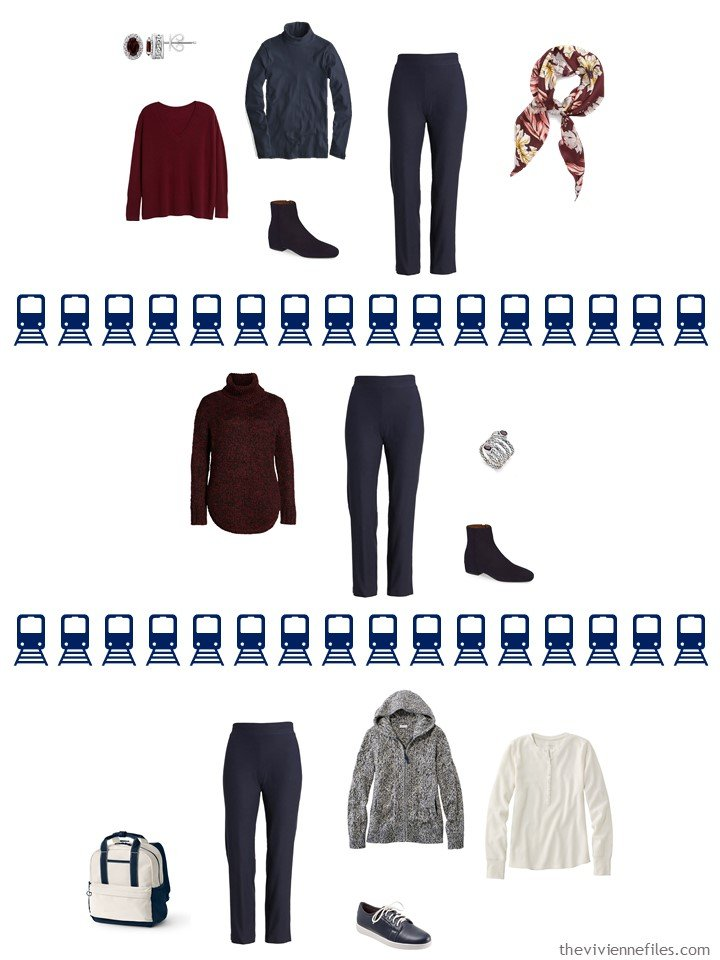 24. 3 ways to wear navy pants from a travel capsule wardrobe