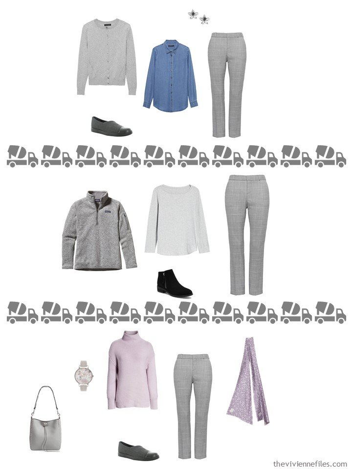 25. 3 ways to wear grey plaid pants from a travel capsule wardrobe