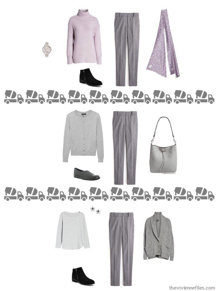27. 3 ways to wear grey pants from a travel capsule wardrobe