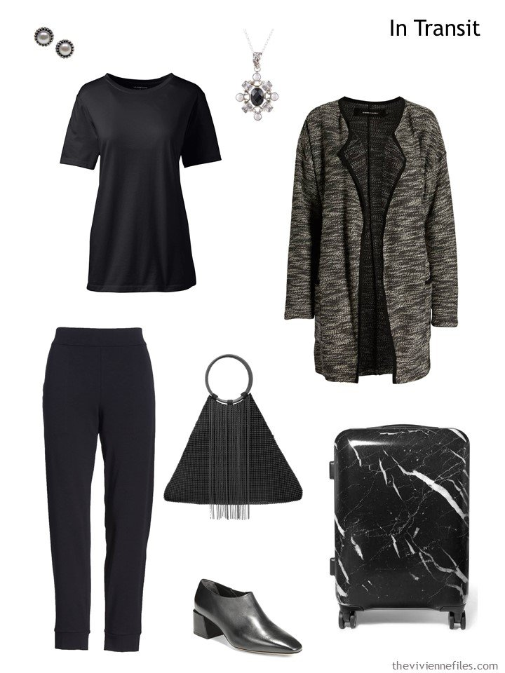 3. Grey and black cold weather travel outfit