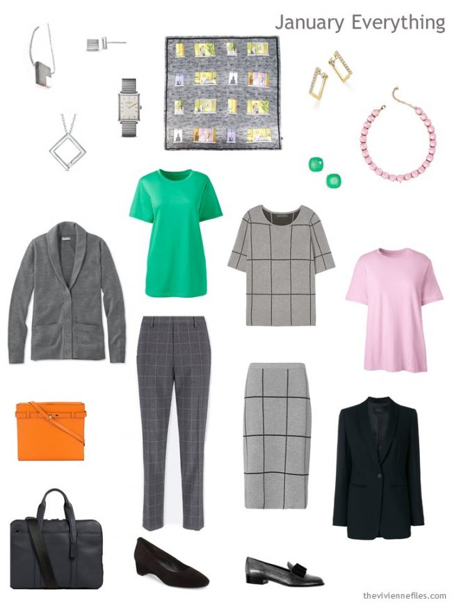 3. January travel capsule wardrobe in grey, green and pink