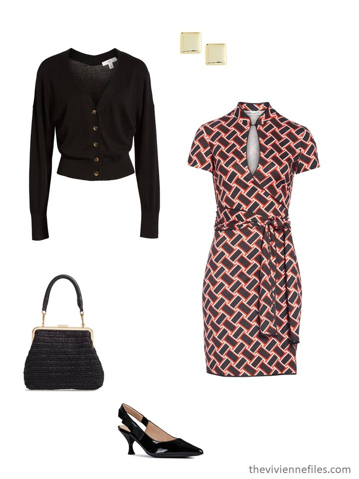 3. black and red print dress with black cardigan and pumps