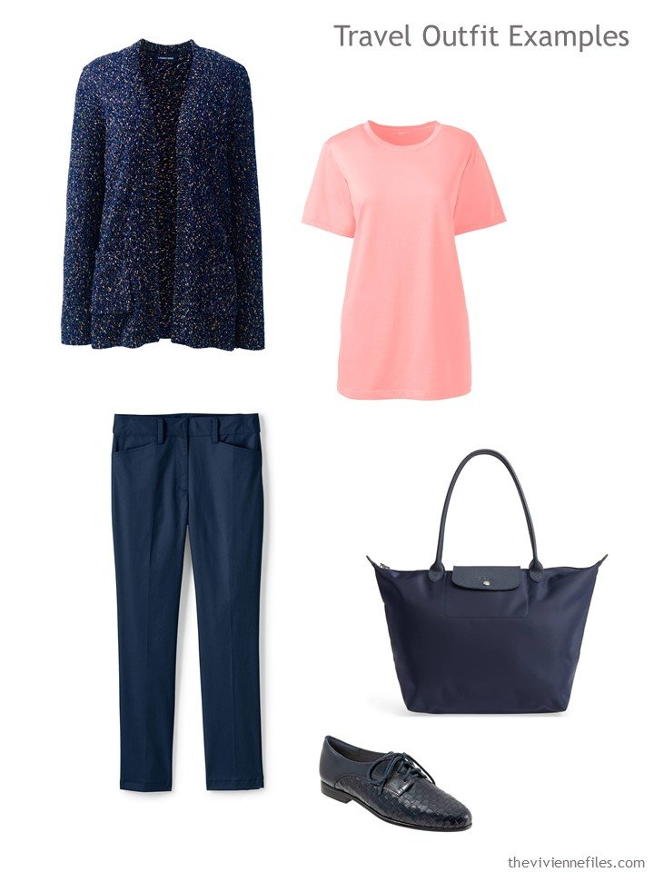 3. navy and coral travel outfit