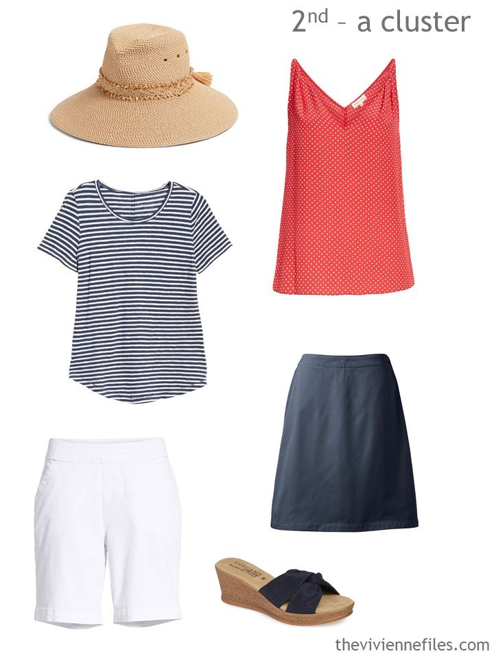 3. navy, red and white warm weather wardrobe cluster