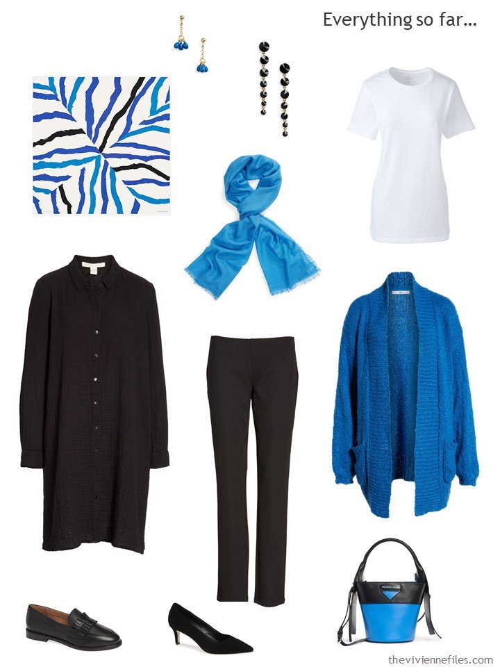 3. travel capsule wardrobe in black, white and blue