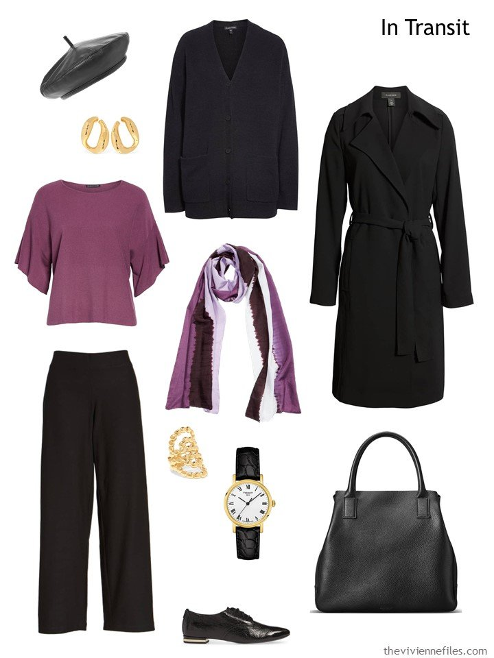 3. travel outfit in berry and black