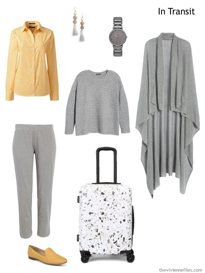 3. travel outfit in grey and yellow