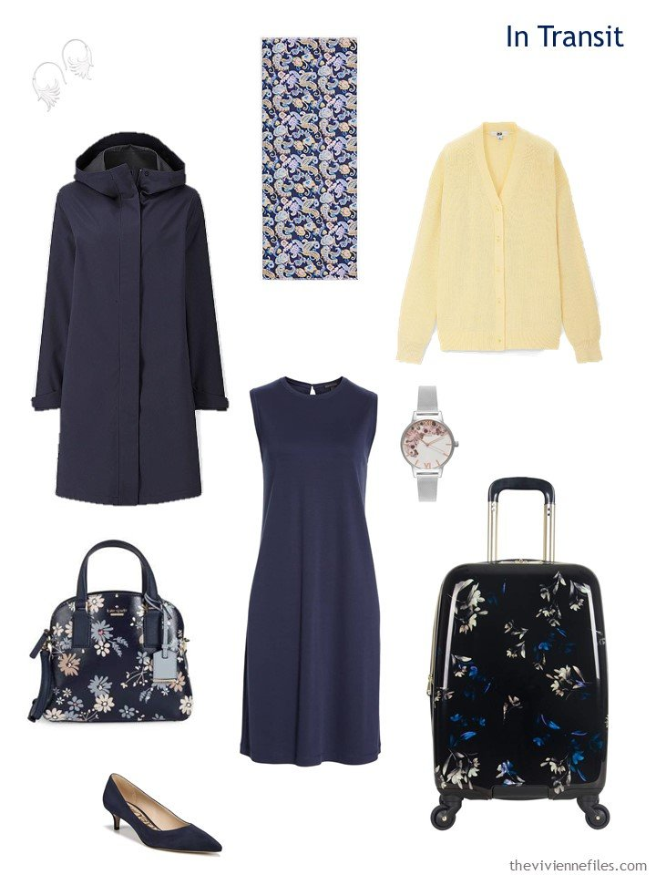 3. travel outfit in navy and yellow