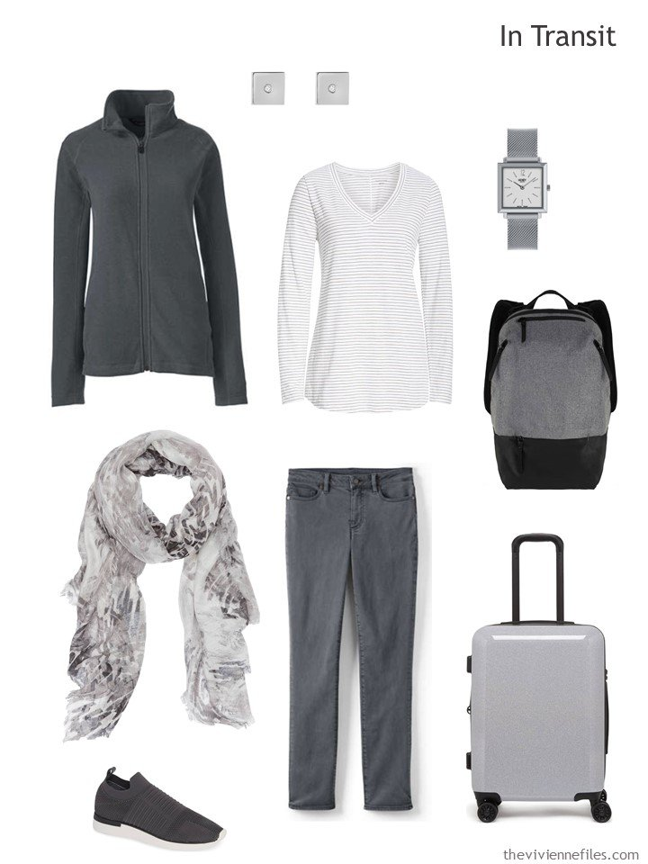 3. winter travel outfit in charcoal and white
