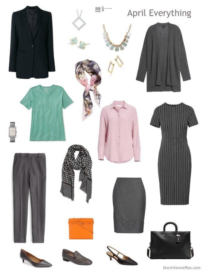 4. April travel capsule wardrobe in black, grey, green and pink
