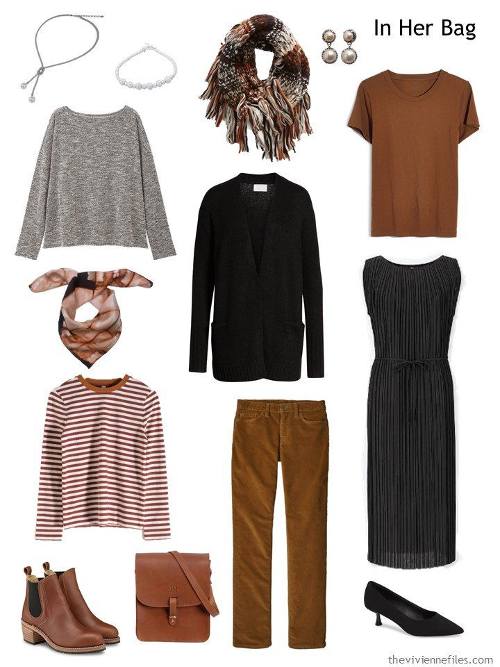 4. black, brown and grey travel capsule wardrobe