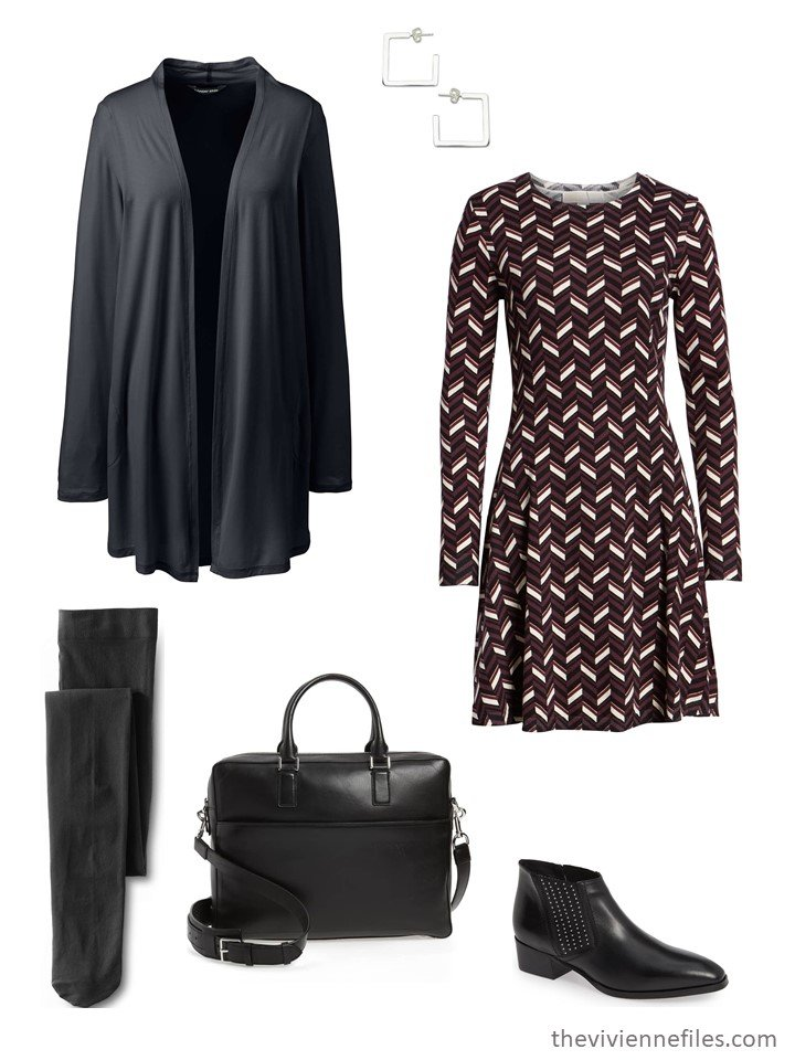 4. black print dress with black cardigan and short boots