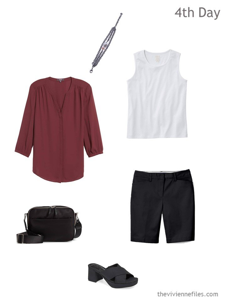4. hot weather outfit in black, white and red