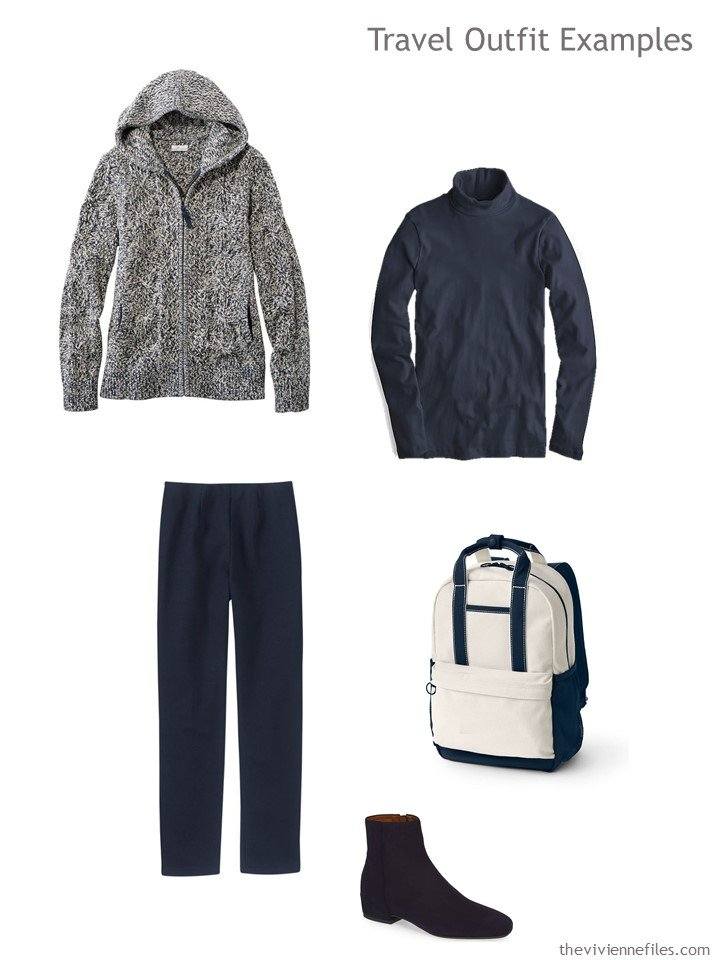 4. navy and beige travel outfit