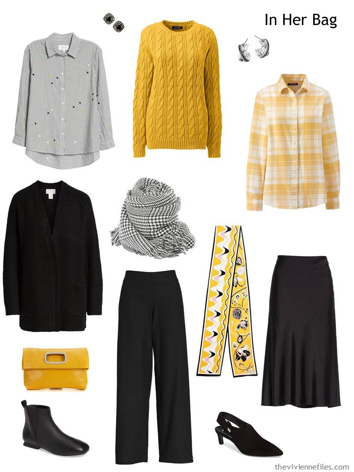 4. travel capsule wardrobe in black, grey, and yellow