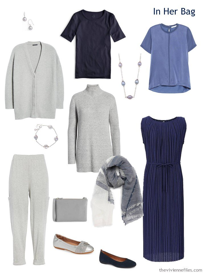 4. travel capsule wardrobe in grey, navy and blue
