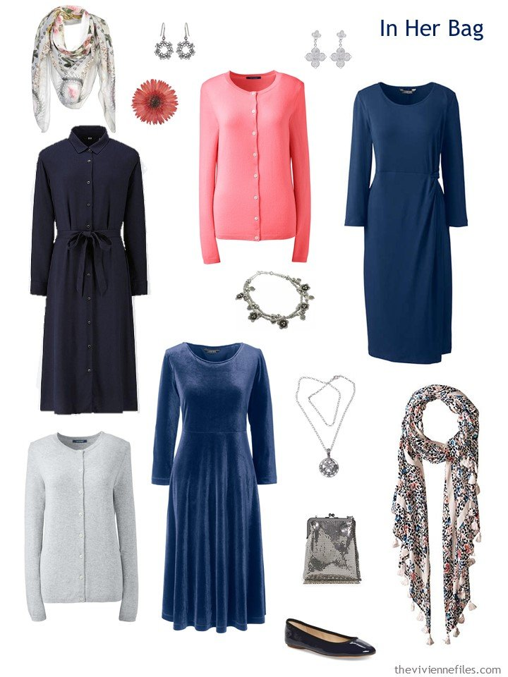 4. travel capsule wardrobe in navy, pink and grey