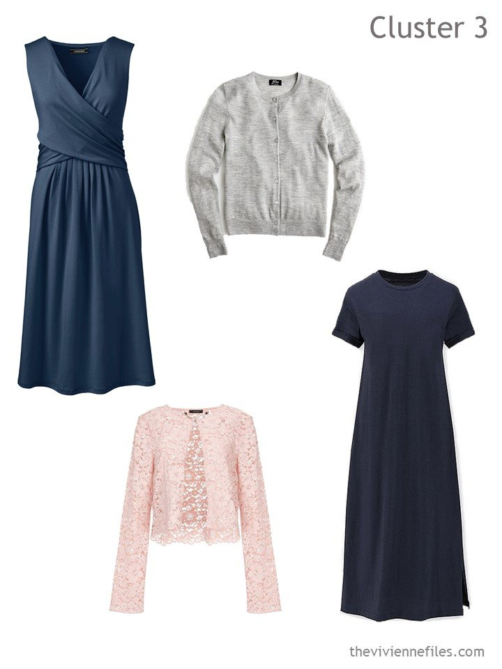 5. 2 navy dresses with cardigans