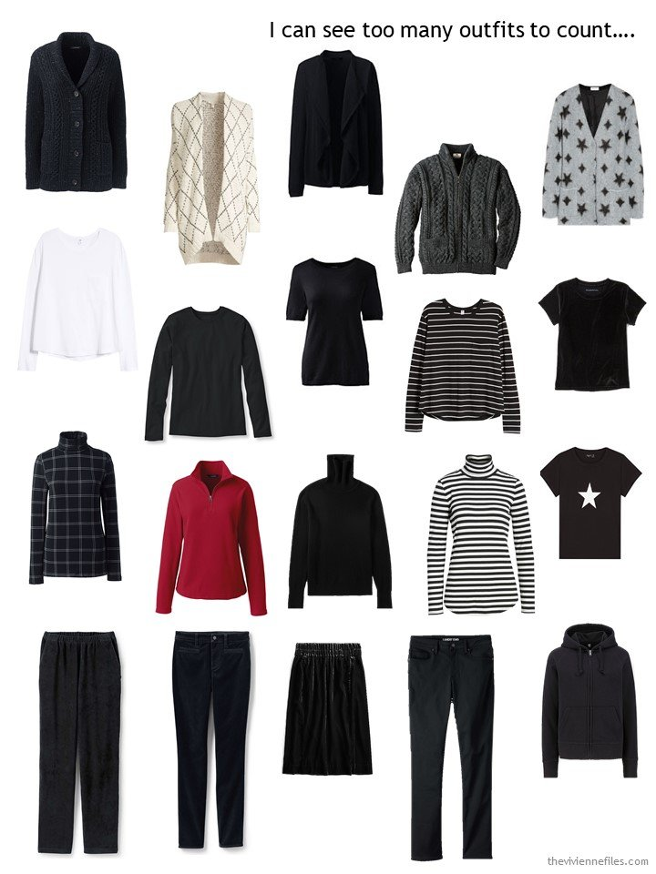 5. 20-piece February capsule wardrobe in black, white, red, ivory and grey
