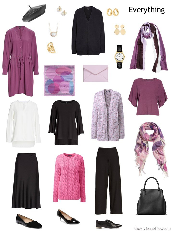 5. 9-piece travel capsule wardrobe in black, white and shades of pink