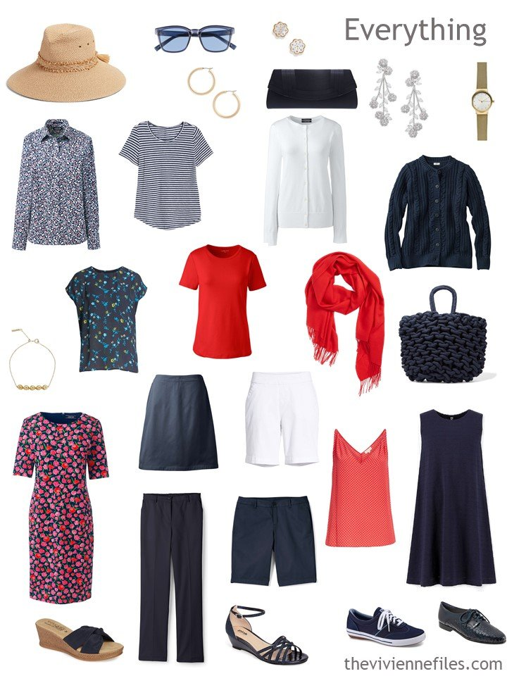 5. a navy, red and white warm-weather travel capsule wardrobe