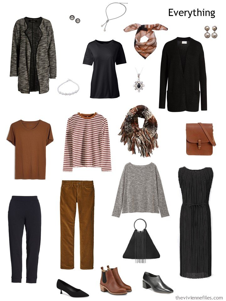 5. black, brown and grey travel capsule wardrobe